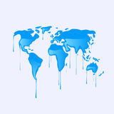 Drawing of a map of the world melting Stock Images