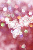 Drawing maple with pink bokeh backgrounds for christmas day. Royalty Free Stock Photography