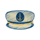 drawing marine cap captain board with anchor Stock Photography