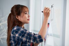 Drawing on Marker Board. Profile view of pretty Asian manager wearing checked shirt drawing something on marker board with help of felt-tip pen while standing at Royalty Free Stock Images