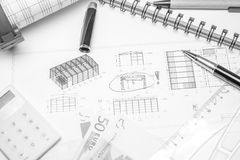 Drawing with marks money and calculator Royalty Free Stock Photography