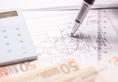 Drawing with marks money and calculator Stock Photo