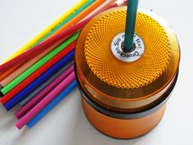 Drawing Material for Kids. Colorful Drawing Material for Kids and pencil sharpener stock images