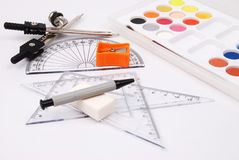Drawing materials. Watercolor, brush, scale pencil Stock Images