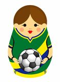 Drawing of a Matryoshka with colors of the flag of Brazil holding a soccer ball in her hands. Russian nesting doll in green, blue royalty free illustration