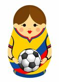 Drawing of a Matryoshka with colors of the flag of Colombia holding a soccer ball in her hands. Russian nesting doll in blue, red vector illustration