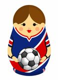 Drawing of a Matryoshka with colors of the flag of Costa Rica holding a soccer ball in her hands. Russian nesting doll in blue vector illustration