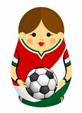 Drawing of a Matryoshka with colors of the flag of Mexico holding a soccer ball in her hands. Russian nesting doll in red, white vector illustration