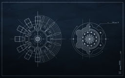 Drawing mechanism on a dark background. Royalty Free Stock Photos
