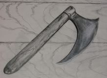 Drawing of Medieval Battle Ax Stock Photos