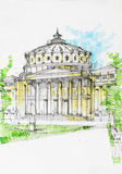 Drawing of a medieval construction with columns and gorgeous cup Stock Images
