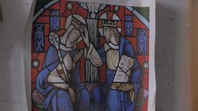Drawing of medieval stained glass King and queen stock video