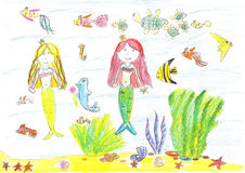 Drawing of a mermaid, fish, turtle, starfish. Child drawing of a mermaid,fish, turtle,starfish Royalty Free Stock Image