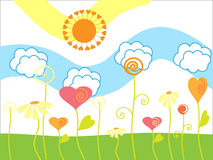 The Drawing merry summer. The Flowers and sun Royalty Free Stock Photo