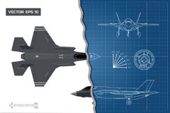 Drawing of military aircraft. Industrial blueprint. Top, side, front views. Fighter jet. War plane with external weapons. Vector illustration Stock Photos