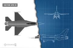 Drawing of military aircraft. Industrial blueprint. Top, side, front views.. Fighter jet. War plane with external weapons. Vector illustration Royalty Free Stock Image