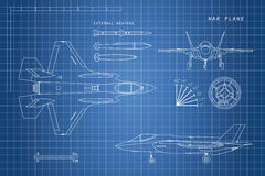 Drawing of military aircraft. Top, side, front views. Fighter jet. War plane with external weapons. Vector illustration Royalty Free Stock Photos