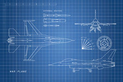 Drawing military aircraft. Top, side, front views. War plane wit Royalty Free Stock Photo