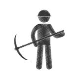 drawing mining man with helmet pick axe figure pictogram Royalty Free Stock Image