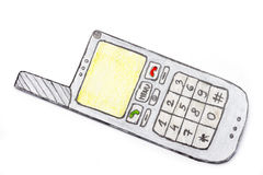 Drawing of mobile phone Stock Image