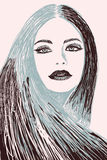 Drawing of a model. Stock Photography