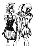 Drawing of models. Black-and-white drawing of girls of models in fashionable clothes. Modeling of clothes Stock Photography