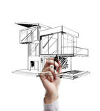 Drawing modern cottage. Hand drawing modern cottage on a white background stock images