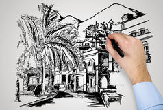 Drawing modern house Stock Photo
