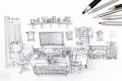Drawing of a modern living room and drawing tools on paper Stock Photos