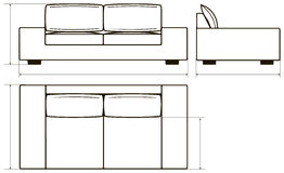Drawing of modern sofas Stock Images