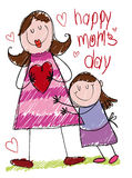 Drawing of a Mom and Daughter Hugging on Mother's Day, Vector Illustration Royalty Free Stock Photography