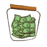Drawing money saving money glass. Illustration eps 10 Stock Photo