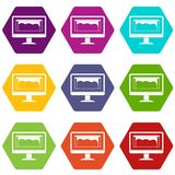 Drawing monitor icon set color hexahedron Royalty Free Stock Photo