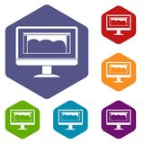Drawing monitor icons set hexagon Royalty Free Stock Photos