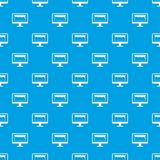 Drawing monitor pattern seamless blue Royalty Free Stock Image