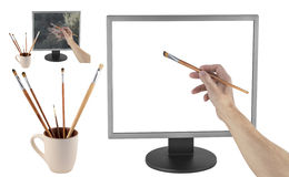 Drawing on the monitor. On a white background stock photos