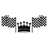 Drawing monochrome to striped of racing flags and crown. Vector illustration Stock Photos