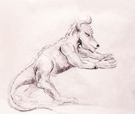 Drawing monster on old paper, original hand draw. Drawing monster on old paper, original hand draw Royalty Free Stock Image