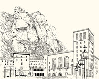 Drawing of Montserrat Monastery Royalty Free Stock Photo