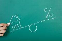 Drawing a mortgage illustration Royalty Free Stock Image
