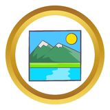 Drawing mountain landscape vector icon. In golden circle, cartoon style isolated on white background Royalty Free Stock Photos