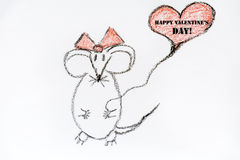 Drawing mouse  in love  - happy valentines day sign Stock Photography