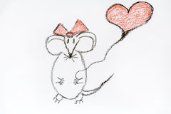 Drawing mouse  in love  - illustration Stock Photography