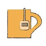 Drawing mug tea hot break office work. Vector illustration eps 10 Royalty Free Stock Photo