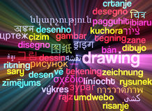 Drawing multilanguage wordcloud background concept glowing Royalty Free Stock Photos