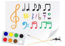 Drawing music notes Stock Photography