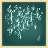 Drawing of music treble clef on green chalkboard with frame Stock Photo