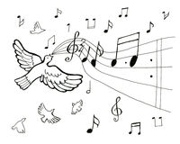 Drawing musical birds pattern. On white background Royalty Free Stock Photos