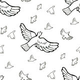 Drawing musical birds pattern. On white background Stock Photos