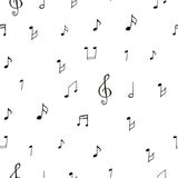 Drawing musical pattern. Black drawing musical pattern on white background Stock Photography